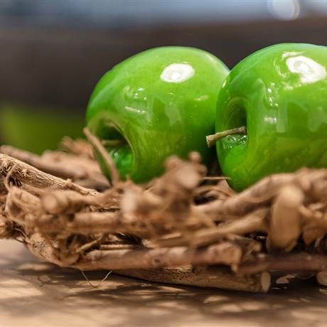 Green decorative apples on a bowl in detail