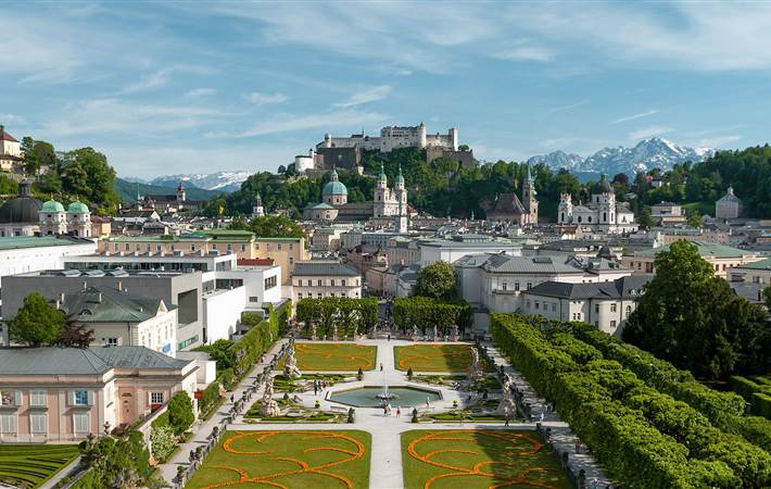Mirabell Garden with view towards Hohensalzburg Fortress in spring